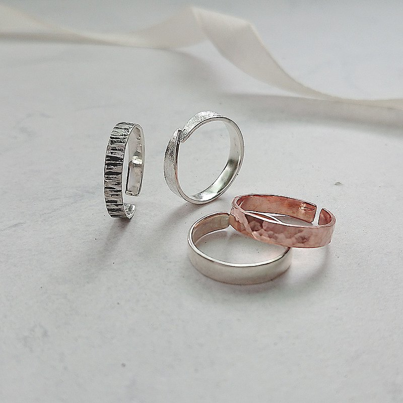 【Workshops】Handmade by metalwork│Tanabata Valentine's Gift Mallet Texture Ring [Red Copper] Open Ring Wedding Ring