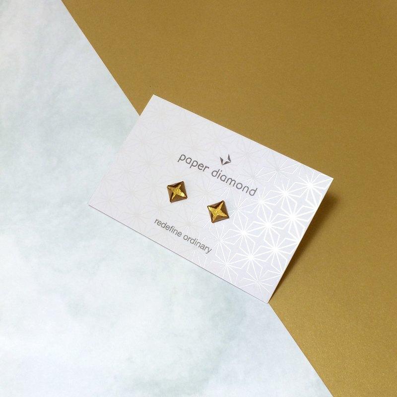 【出清品】絕版典雅啞金色摺紙鑽石形耳環