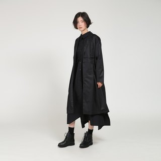 BUDU turn black split collar wool texture in the long paragraph coat coat