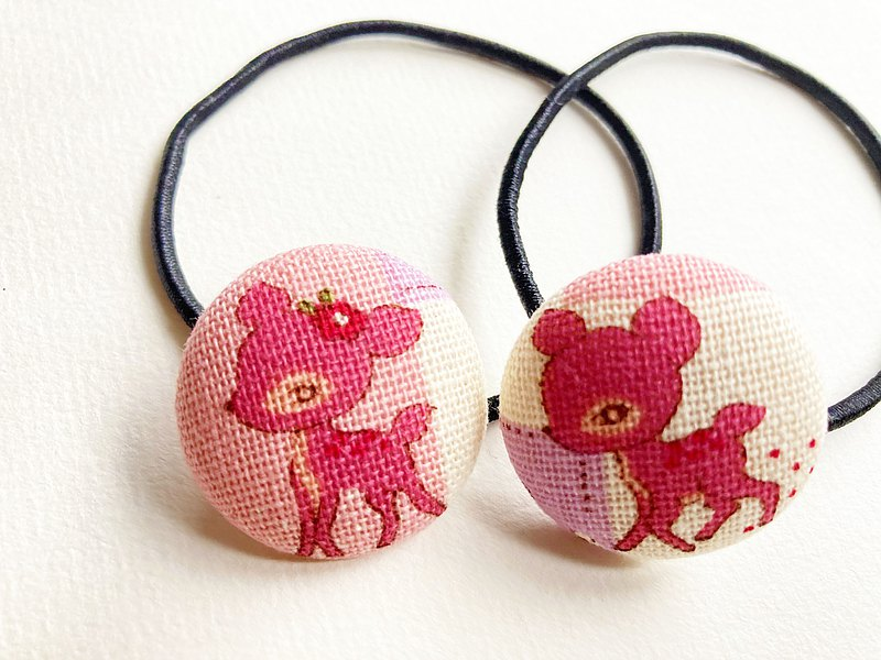 Hand-made cloth bag button hair tie hair ring pink Bambi