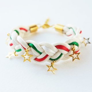 Christmas gift collection , Red/Green/White braided bracelet with stars