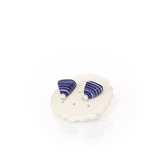 Navy Pearl Ceramic Ear Triangle Handmade Earrings Jewelry
