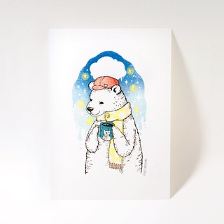 Cubs drinking hot cocoa winter postcard stamp illustration