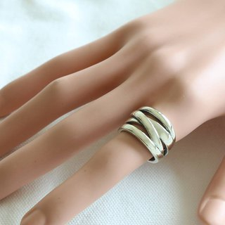 Crossover Ring Cigar Band Sterling Silver Boho Celtics Braid Wide Women Cuff