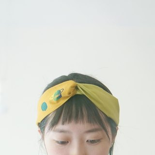 "YInke ""your most lovely"" hair band - mustard yellow planet & mustard green"