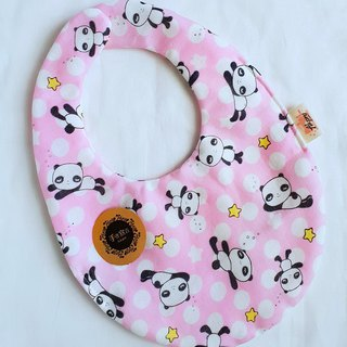 Water jade panda - pink - eight-layer yarn 100%cotton double-sided egg-shaped bib