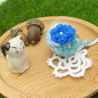 Blue flowers lace ball. Dust plug / Charm