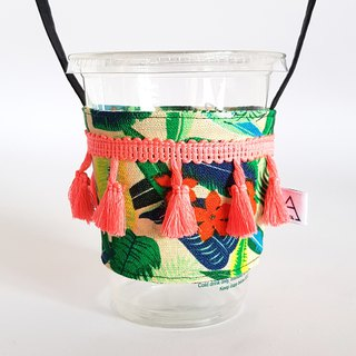 Holiday yarn tassel drink cup bag / frangipani
