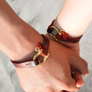 Couple Bracelet Leather Hand With Red Camo X Brass