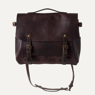 [Bleu de Chauffe] Eclair M leather messenger package _Tourbe / peat brown