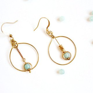 [Na UNA- excellent hand-made] full moon - Copper earhook brass customization natural stones