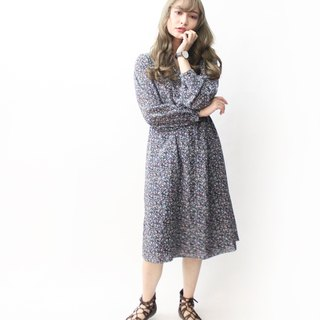 【RE1004D1464】 early autumn Japanese system retro floral V-collar self-cultivation black long-sleeved ancient dress