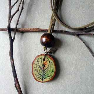 Hand-painted necklace / pendant (tree)
