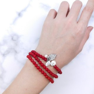 【108 rosary series】 red glass * irregular pearl leaf beads ring hand ring / New Year gifts