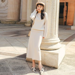 2018 autumn and winter ladies new sweater split skirt half skirt two-piece