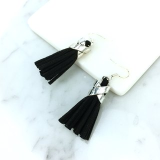 Classic black suede tassel earrings (allergy auricular acupuncture)