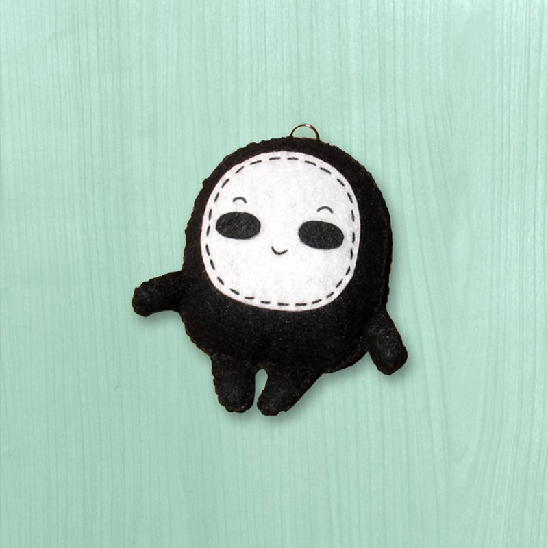 Handmade non-woven cloth charm key ring _ little eyeless male baby - amazing expression 1