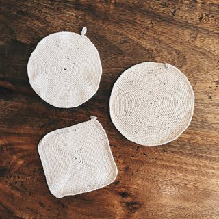 Italian mother's hand-knit coasters