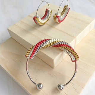 Hand-knitted / twisted / stainless steel / bracelet / earrings