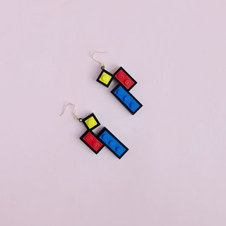 Color matching Mondrian  LEGO earrings