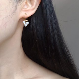 E027 婉 ​​2 - white jade brass pin / clip earrings