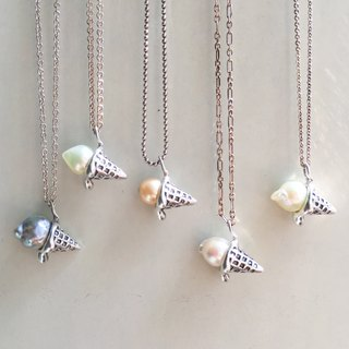 """Petite Fille handmade silver"" summer ice cream silver pearl necklace"