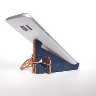 Indigo dyeing leather folding smartphone stand 【zaza / Zaza】 # Plant dyeing leather # Alphabet stamp to choose