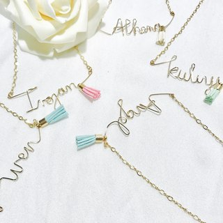Word / name 。 necklace。Bridesmaids 。 Tassel