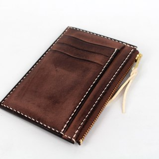 MOOS Simple zipper card packs coffee frosted cheeky Italian yak leather