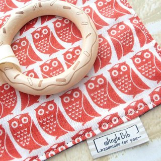 Baby Teething Blanket, Rattle  Wooden Toy, Japanese Cotton, Orange Red Owl