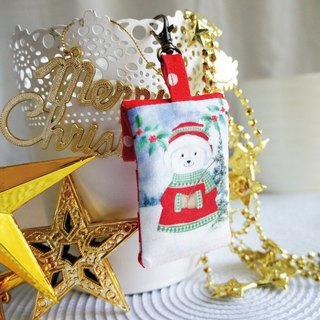 Lovely [Japanese cloth order] Christmas Polar Bear Square Peace Bag, Poetry Lucky Bag, Small Jewelry Bag