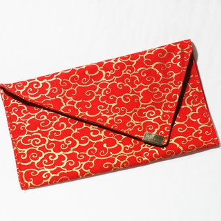 [AnnaNina] handmade double red bag, passbook, cash storage bag, red gold, smart cloud