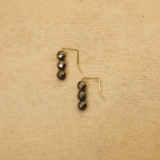 String Series Brass Pyrite Dangle Earrings Ear Pins Without Piercings