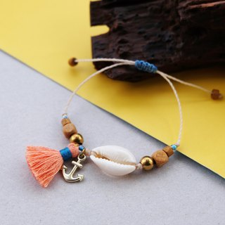 Sea shell with anchor and peach blue tassel beach bracelet
