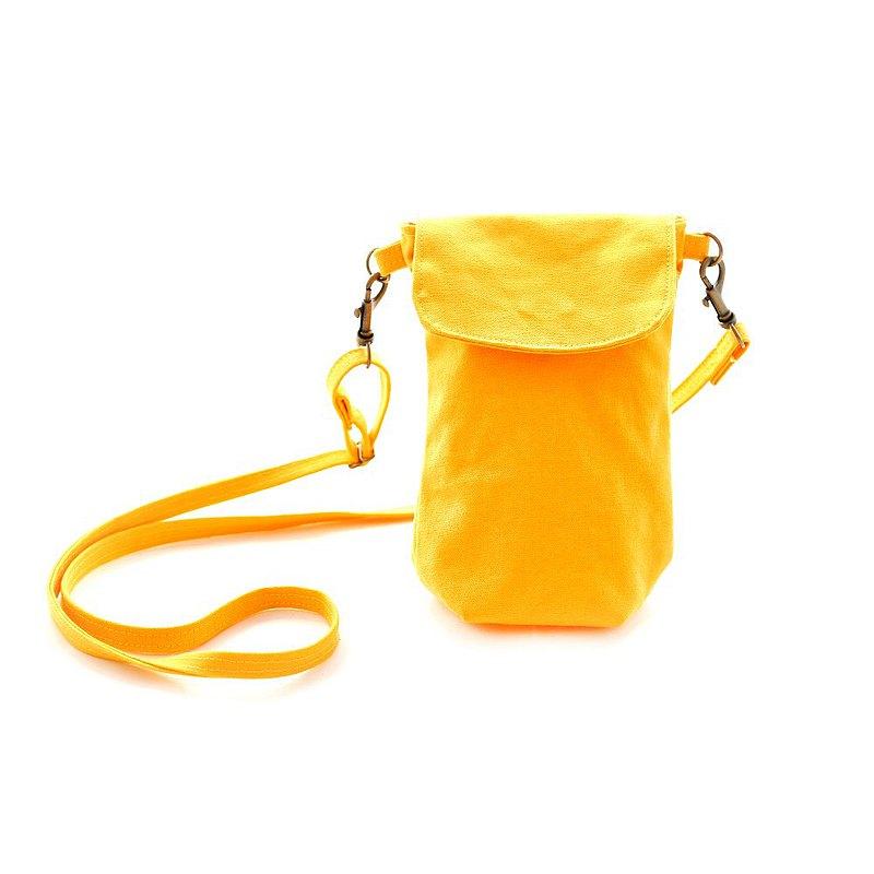 直式帆布隨身斜背包手機包-黃