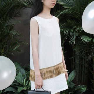 MaodiuL cat lost independent design in Europe and America fringed hippie elegant little white dress A word