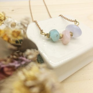 Old forest groceries l summer tail natural stone short chain - pink opal / azure stone / blue agate
