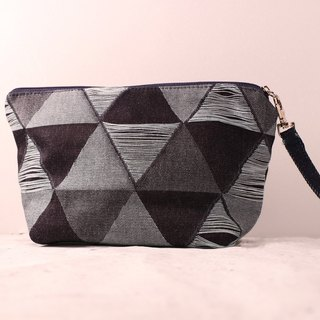 Denim cosmetic bag tanner carry bag triangle graphics clutch