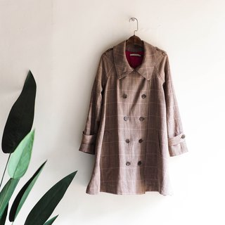 Aomori latte camel afternoon literary girl antique thin windbreaker jacket trench_coat dustcoat