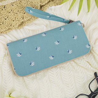 Blue and green. Floral. Cloth clip / long clip / wallet / wallet / purse