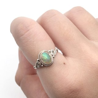 Opal 925 sterling silver exotic ring handmade mosaic in Nepal