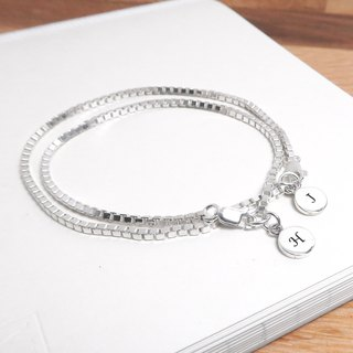 Square box round couple bracelet (detailed 2 pieces on the chain) 925 sterling silver custom lettering bracelet