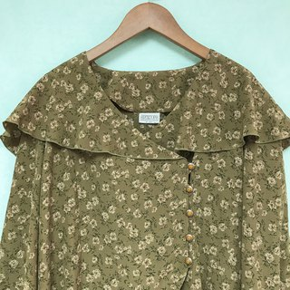 Top / Khaki Green Sailor collar Long-sleeves Top