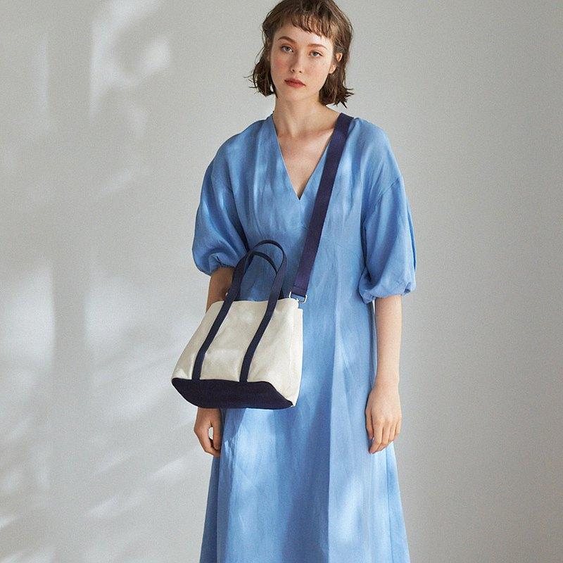 Nora 帆布 2way 手提包 +3號內袋【白藍】