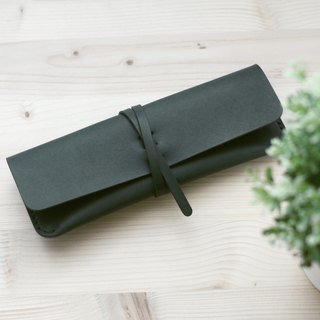 Strap pencil case / glasses case -- Forest Green