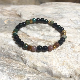 Aquatic algae | Indian agate / obsidian / green sandstone | brass | natural stone bracelet