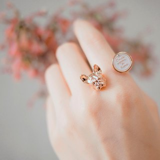 Gazing French bulldog- rose gold colour < once upon a time*ring >