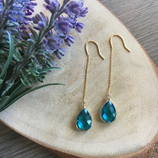 14k gold-plated chain blue teardrop earrings