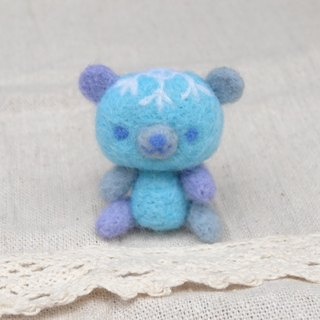 Blue Teddy Bear- Wool felt  (key ring or Decoration)