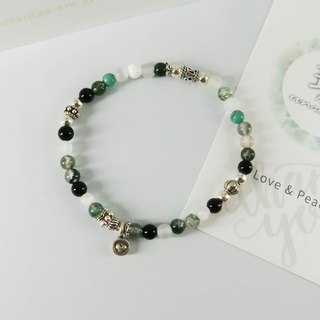 Green Forest Natural Stone Silver Bracelet│Green White Series玥unicorn Natural Stone 925 Sterling Silver Tibetan Silver